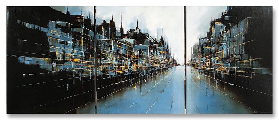"""Stadtlandschaft"" - Mischtechnik auf Leinwand - 3x50x70"