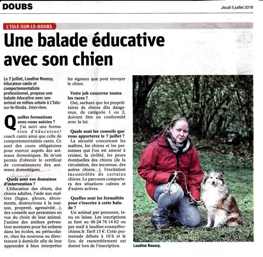 Article dans l'Est républicain le jeudi 5 juillet 2018 pour la balade éducative de l'Isle sur le Doubs organisée par EC Chiens - Education canine
