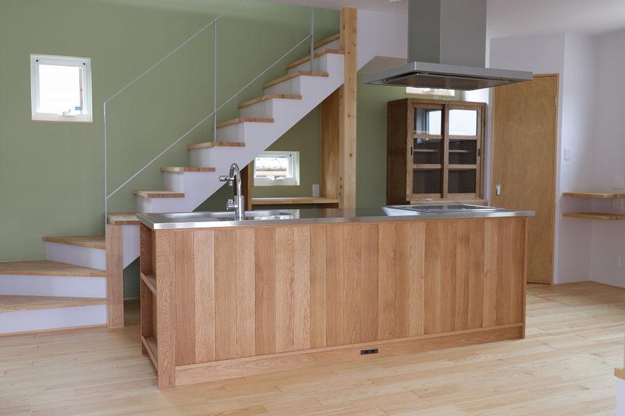木のキッチン オークキッチン アイランドキッチン オーダーキッチン 造作キッチン