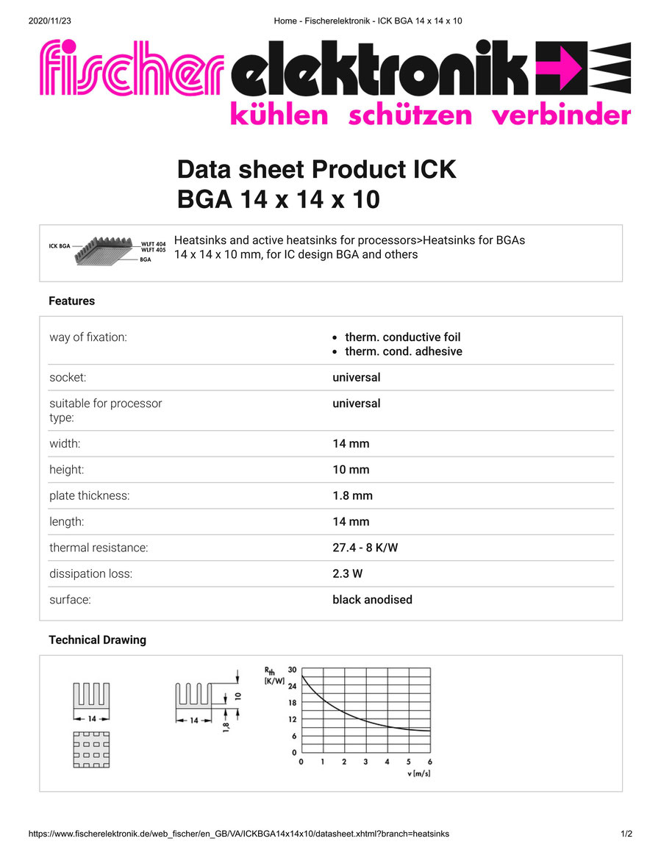 ICK BGA 14x14x10  Fischer / フィッシャー BGA用 ヒートシンク