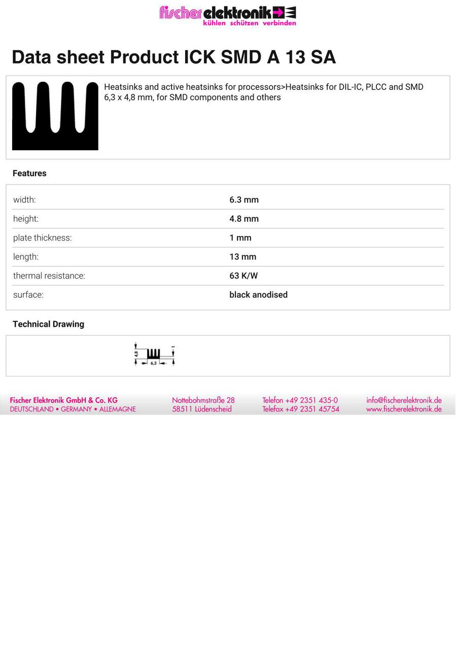 ICK SMD A 13 SA Fischer/フィッシャー 表面実装デバイス用 ヒートシンク