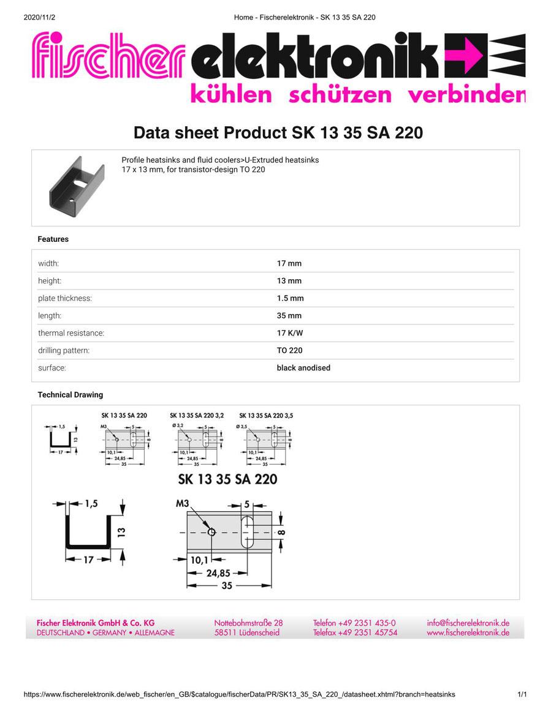 SK 13 35 SA 220( SK13-35-SA-22)Fischer 押出成形ヒートシンク