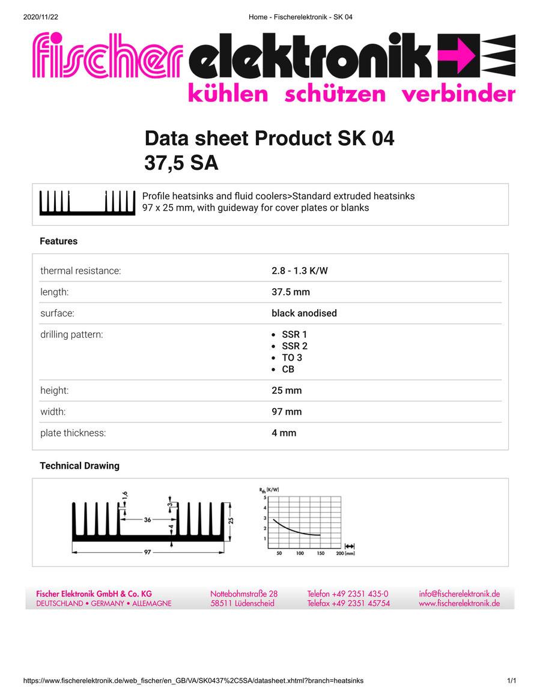 SK04-37,5-SA Fischer フィッシャー 押出成型 ヒートシンク
