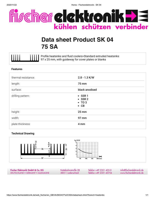 SK04-75-SA Fischer フィッシャー 押出成型 ヒートシンク