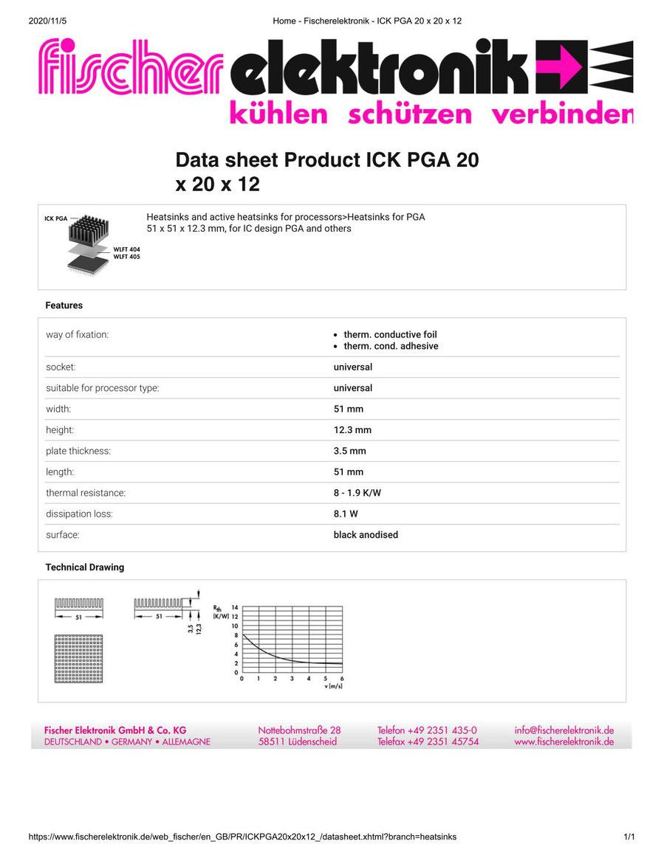 ICKPGA20X20X12  Fischer /フィッシャー PGA用 ヒートシンク