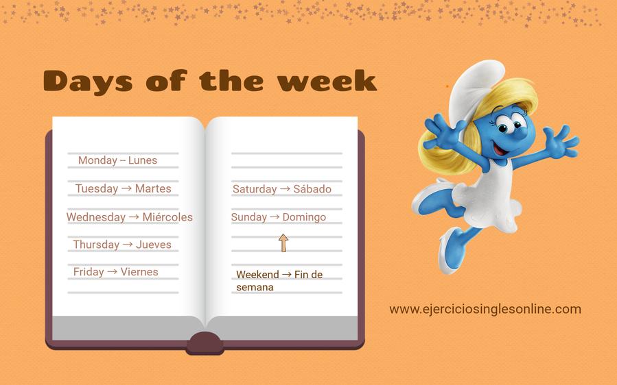 Días de la semana en inglés.