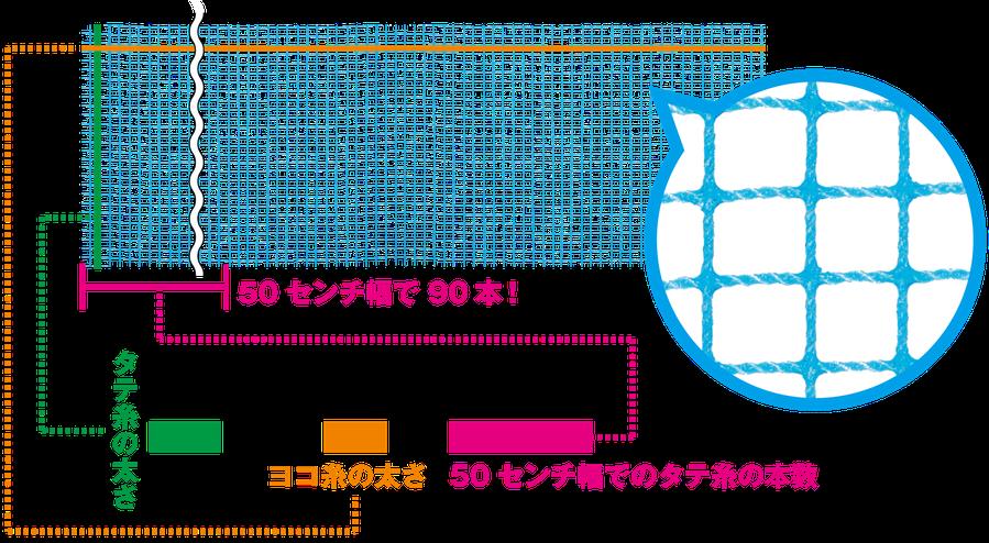 商品名、商品規格の見方を表した図