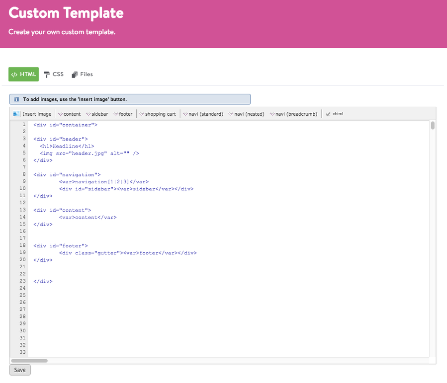 Jimdo Custom Template Interface