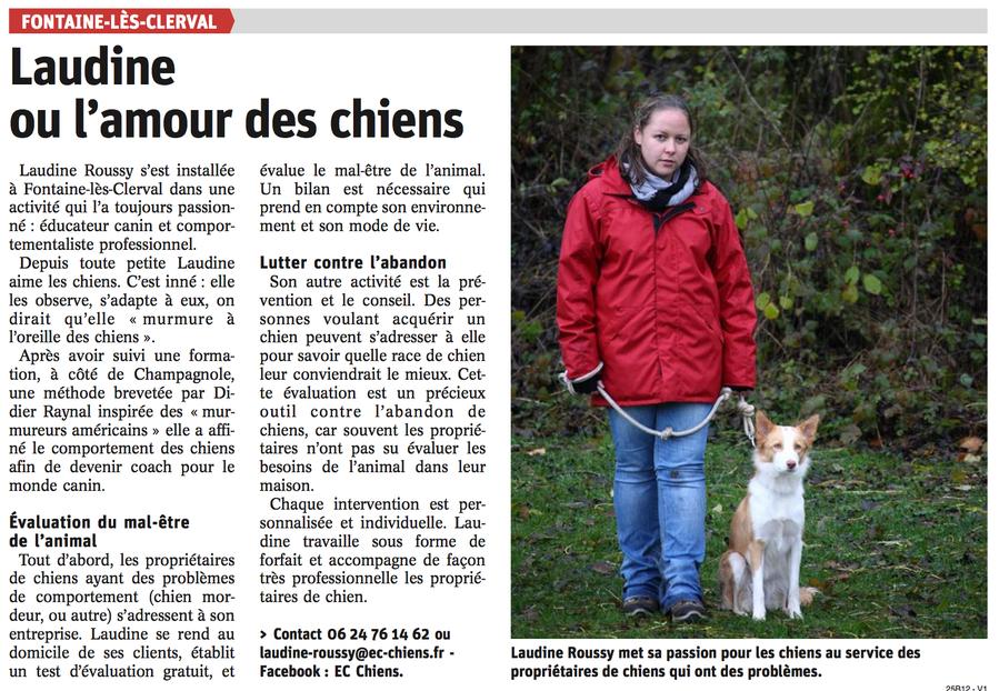Article de presse de l'Est républicain pour rpésenter EC Chiens education canine par un educateur canin comportementaliste canin professionnel pour l'education des chien et l'education des chiots