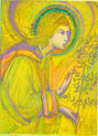 Den Lorbeerzweig in der Hand, ruft EE Gabriel uns nach Hause. Grün-gold-violett gemalt.
