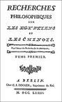 Cornelius de Pauw (1739-1799) : Recherches philosophiques sur les Égyptiens et les Chinois Decker, Imprimeur du Roi, Berlin, 1773
