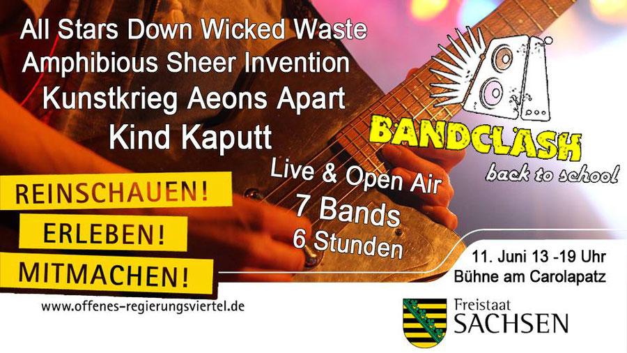 Das große BAND CLASH-Open Air mit den besten Bands 2016/17 am 11. Juni in Dresden