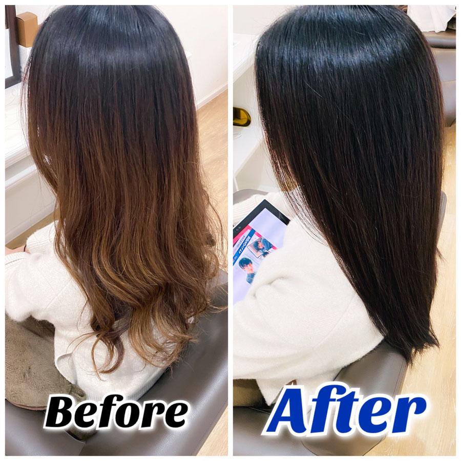 縮毛矯正、髪質改善トリートメント画像。美容室ロリポップ