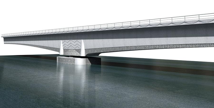Extrait de la maquette du deuxième pont sur le Wouri à Douala