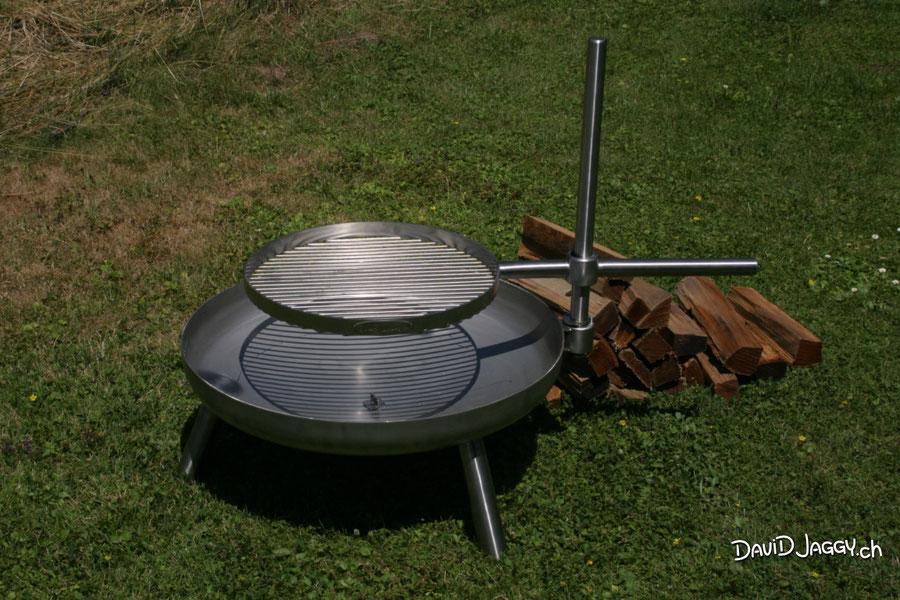 Feuerschale Ø 70 cm, Chromstahl mit Ø 45 cm Grillrost