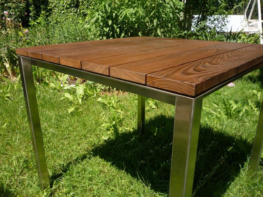 Tisch Chromstahl Massivholz Tischlatten