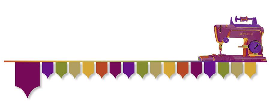 Funkenflug Design Nähschule ganz vernaht home Grafik Nähmaschine lila hell