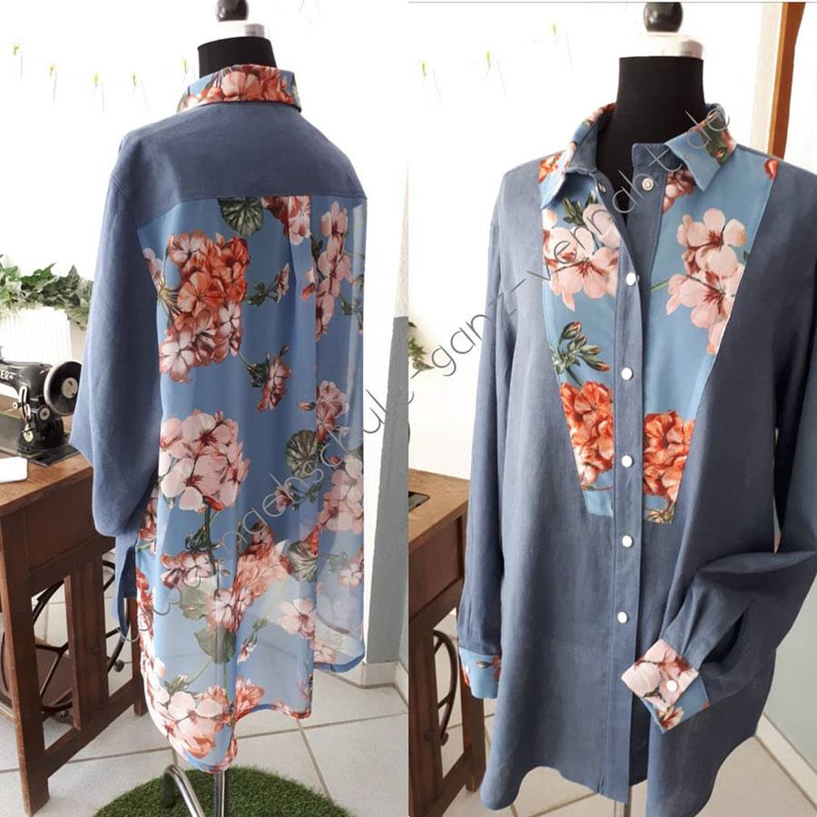 Nähschule ganz vernaht, Bluse blau mit rosa Blumen, von vorne und hinten