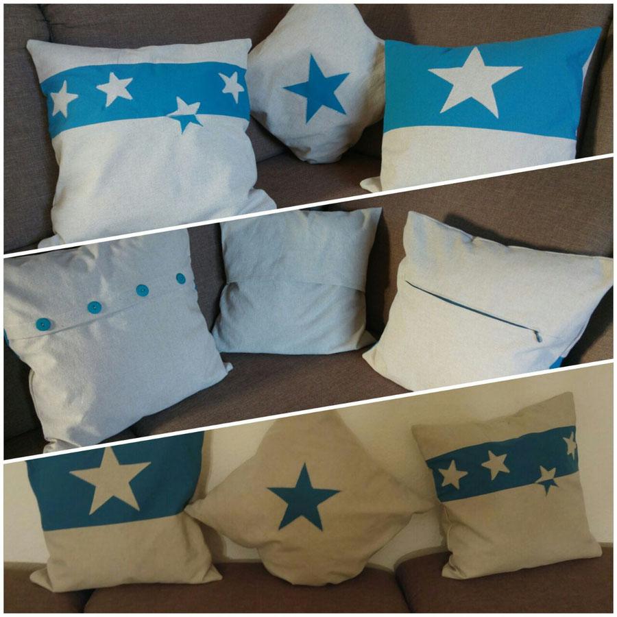 Nähschule ganz vernaht, drei Kissen blau und beige mit Stern und Hotel-, Knopf- und Reißverschluss