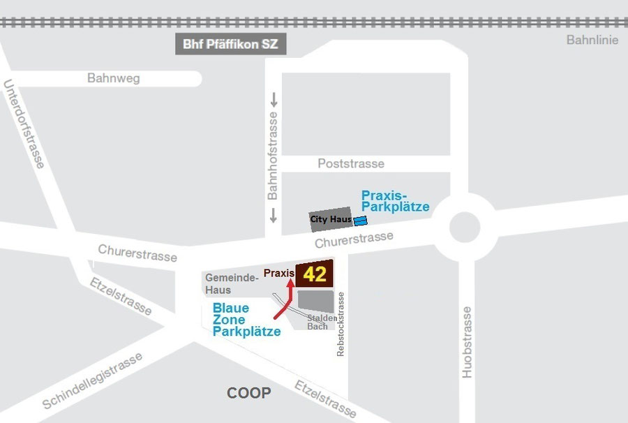 Map central location of the dental practice of Dr. Farspour