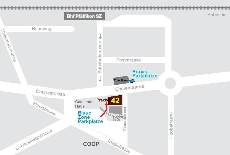 Zahnarztpraxis Lageplan neben Gemeindehaus Pfäffikon SZ und COOP mit Blaue-Zone-Parkplätze