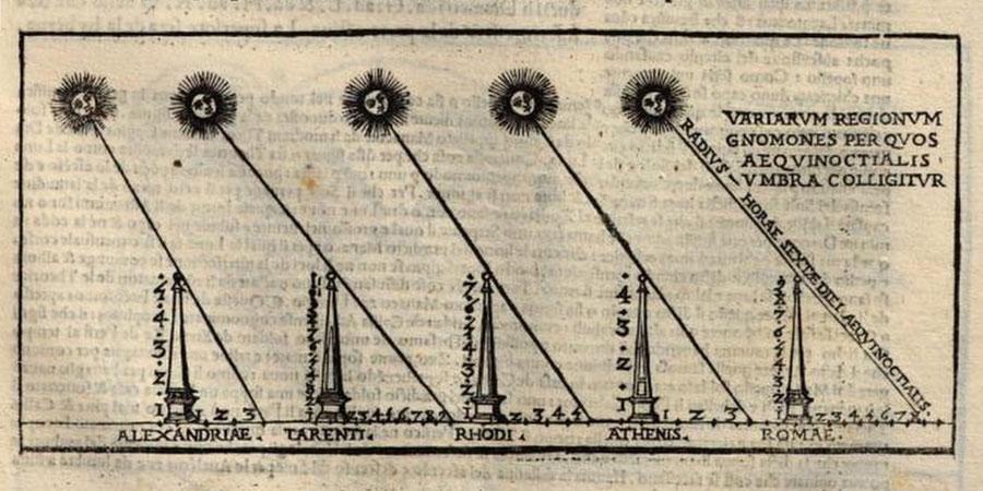 Fig. 20 - Rappresentazione vitruviana della variazione dell'ombra gnomonica nelle diverse località, trattata da Cesare Cesariano De architectura 1521 volume a stampa, Milano