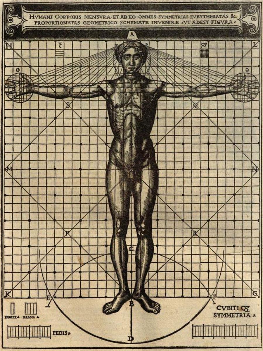 """Rappresentazione dell'Homo vitruviano  """"humani corporis mensura"""", trattata da Cesare Cesariano De architectura 1521 volume a stampa, Milano"""