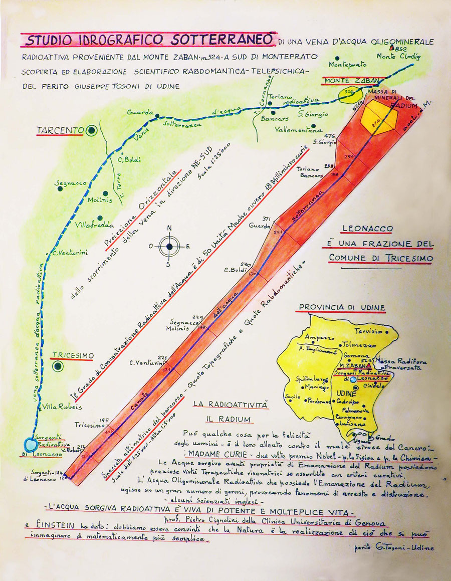 Copia dello studio idrografico sotterraneo del percorso della vena d'acqua, eseguito nel circa 1920 dal Perito Giovanni Tosoni di Udine
