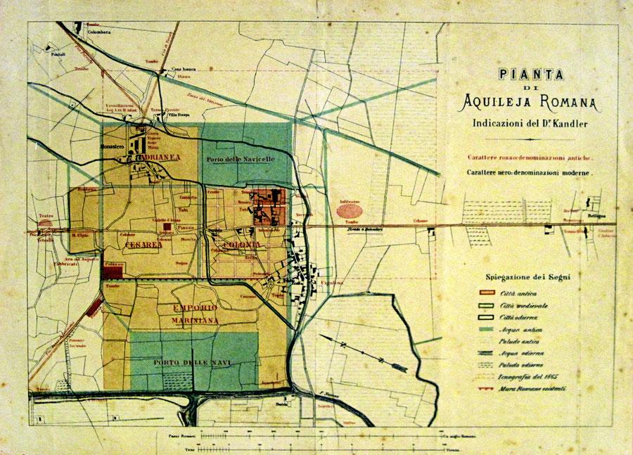 "Pianta di Aquileia Romana. Da P. Kandler, Aquileia Romana in ""Archeografo Triestino"" 1869"