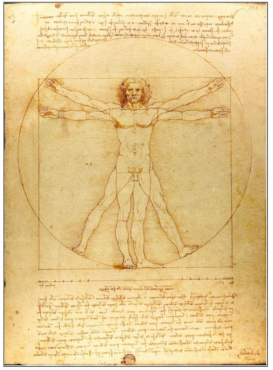 Leonardo da Vinci, Le proporzioni del corpo umano secondo Vitruvio - Uomo vitruviano 1490 circa, Venezia