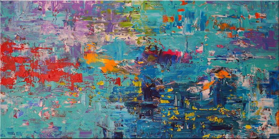 Acrylbilder abstrakt kaufen - Acrylbild,Gemälde,Wandbildmit interessanten Farbverläufen in Blau,120 x 60cm