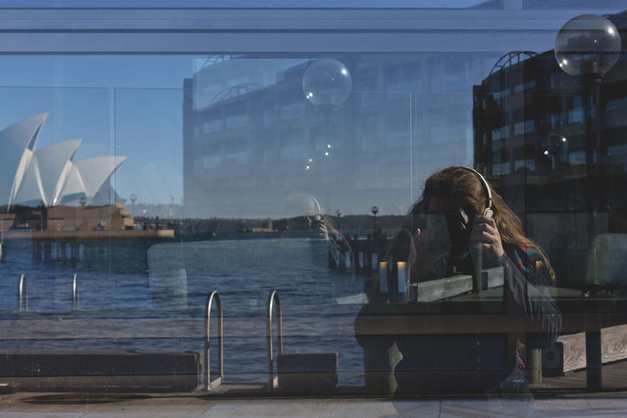 Reflectionen in Glas, Sydney, Australien