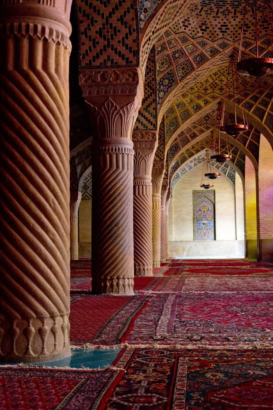 The inside, pink mosque, Shiraz, Iran