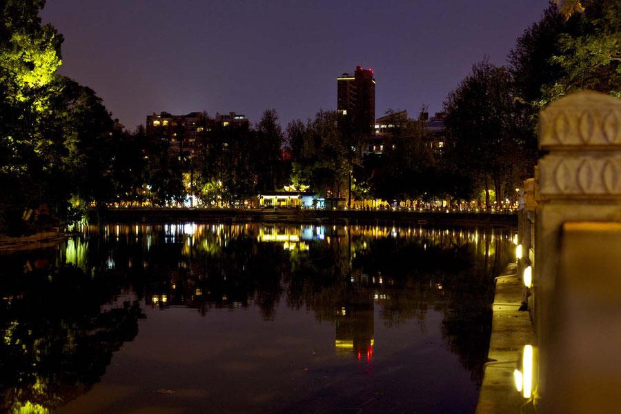 Das Zentrum der Stadt bei Nacht, Kunming, China