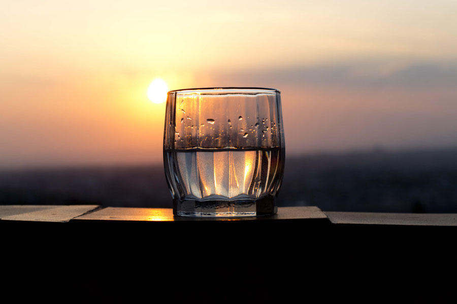 Sunset on a water glass, Jerevan, Armenia