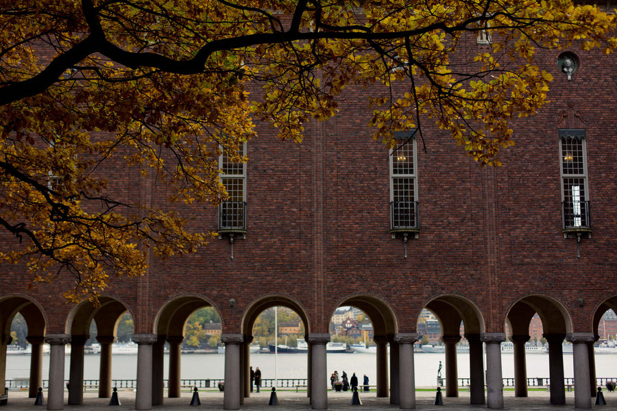 Stockholm City Hall (stadshus), Stockholm, Sweden in late october
