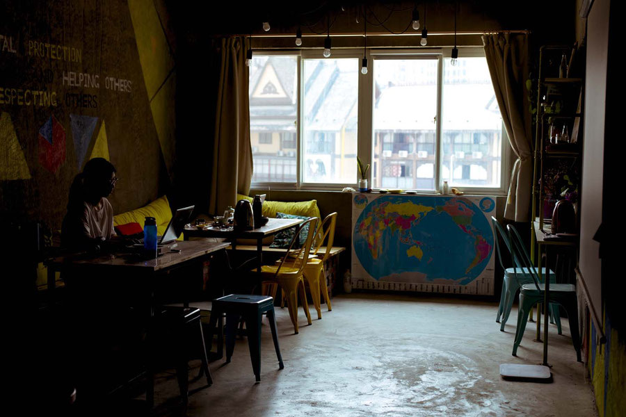 Common room of the Zero Factory Hostel, Jinghong, China