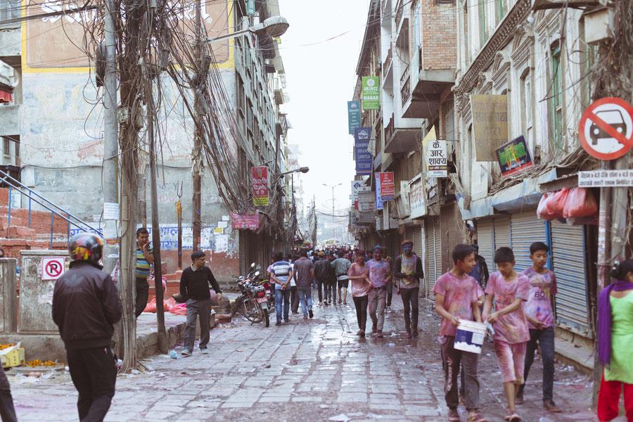 Kathmandu während des Holi Festivals, Kathmandu, Nepal