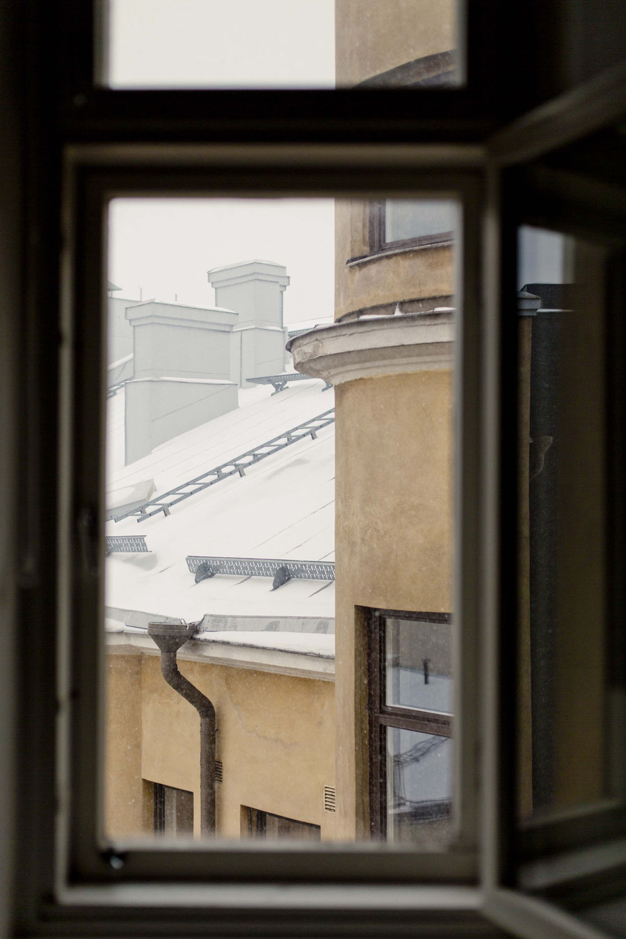 First snow, view from the window, Helsinki, Finland