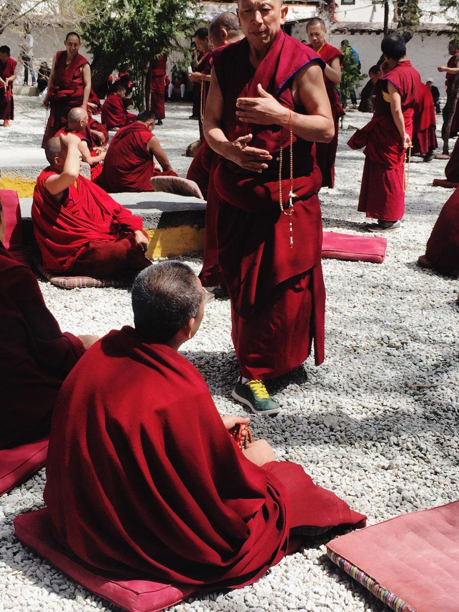 Die Mönchsdebatte, Kloster Sera, Lhasa, Tibet, China