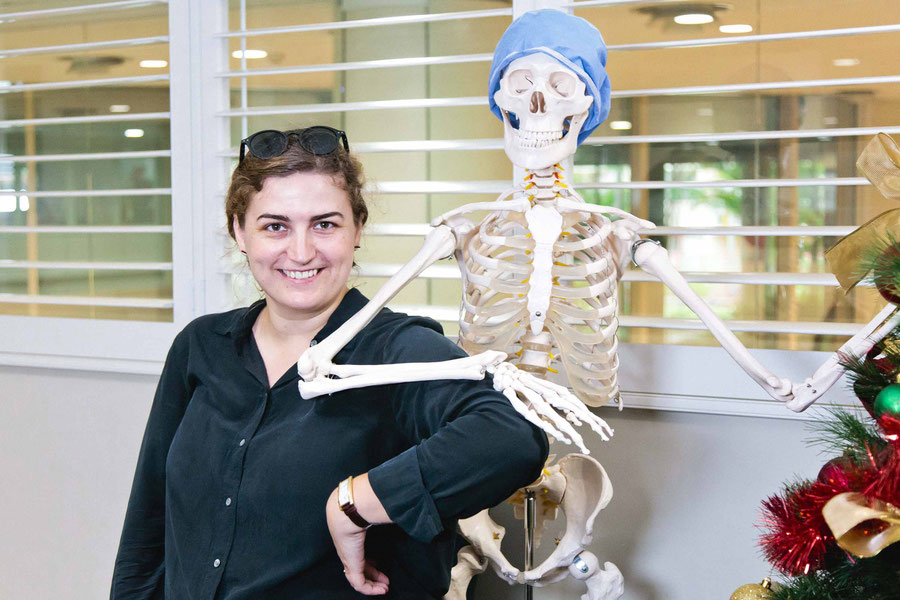 Posing with a skeleton, while shooting a promo video for a private hospital in Sydney, Australia