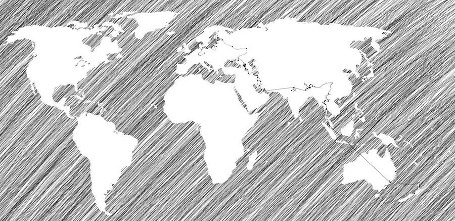 World map, handdrawn, Route around the world