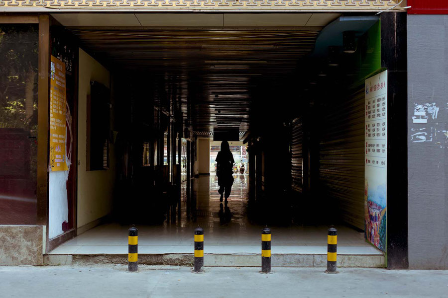 Leaving the hostel, Jinghong, China