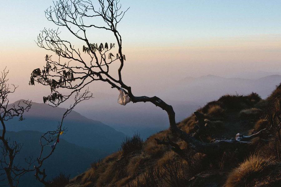 Nature, sunrise and garbage, ever present, Mardi Himal Trek, Nepal