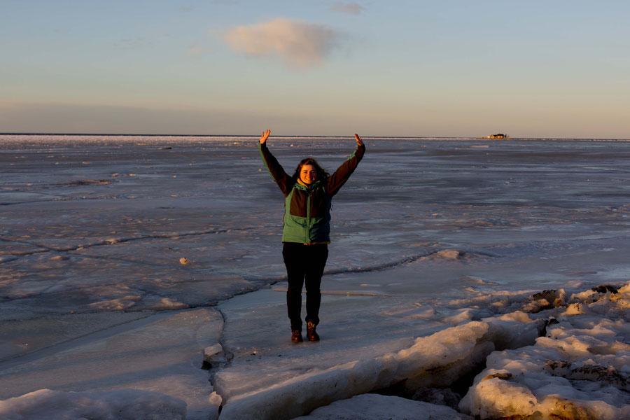 Das Highlight meines Aufenthaltes in Finnland: das gefrorenen Meer, Kalajoki, Finnland