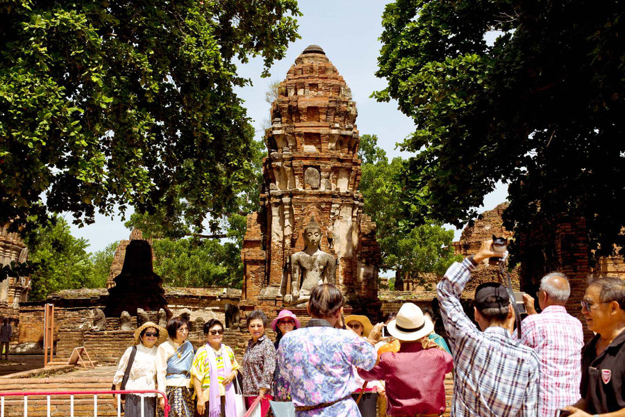 Tourists doing ther thing, Ayutthaya, Thailand