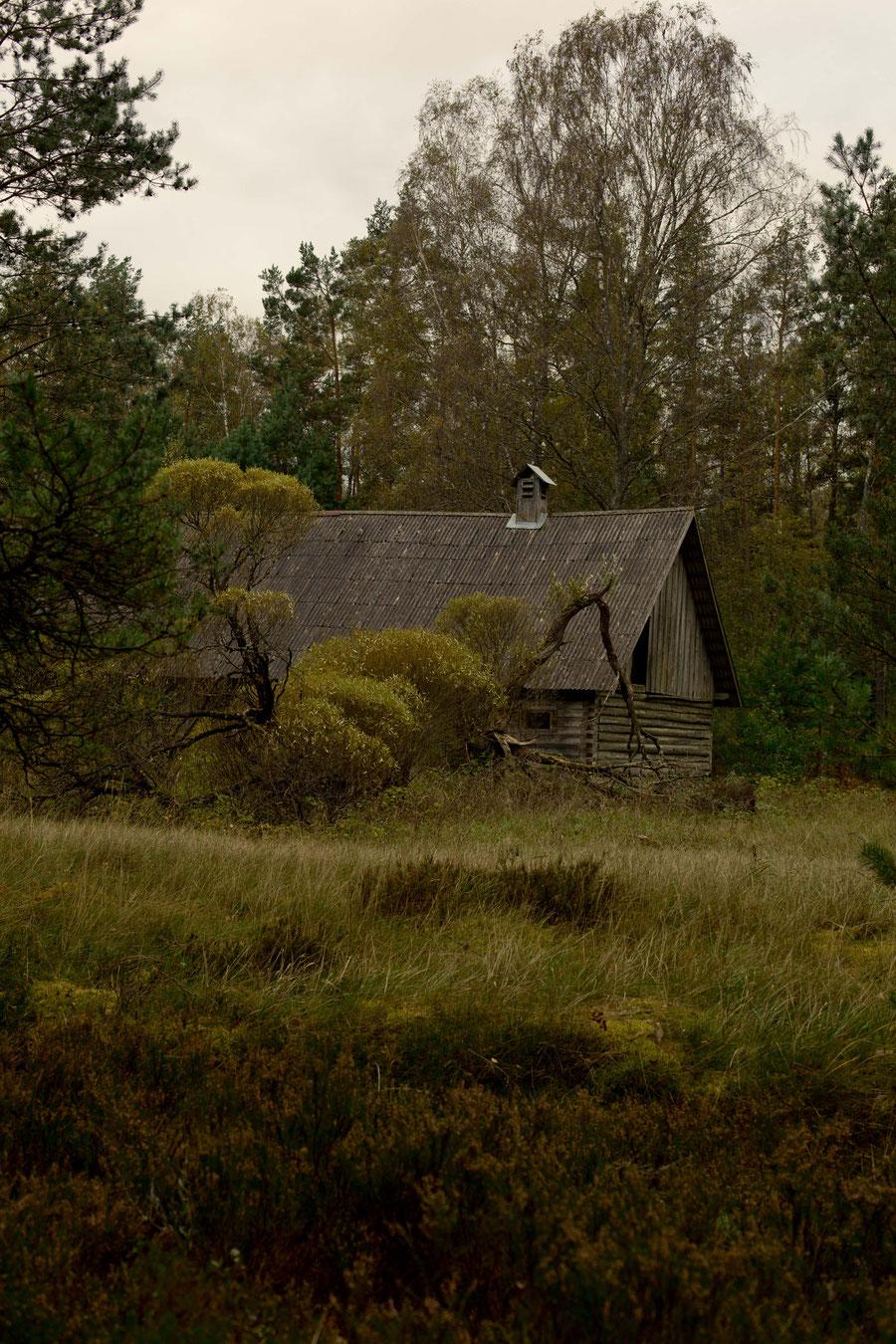 Holzhaus am Straßenrand
