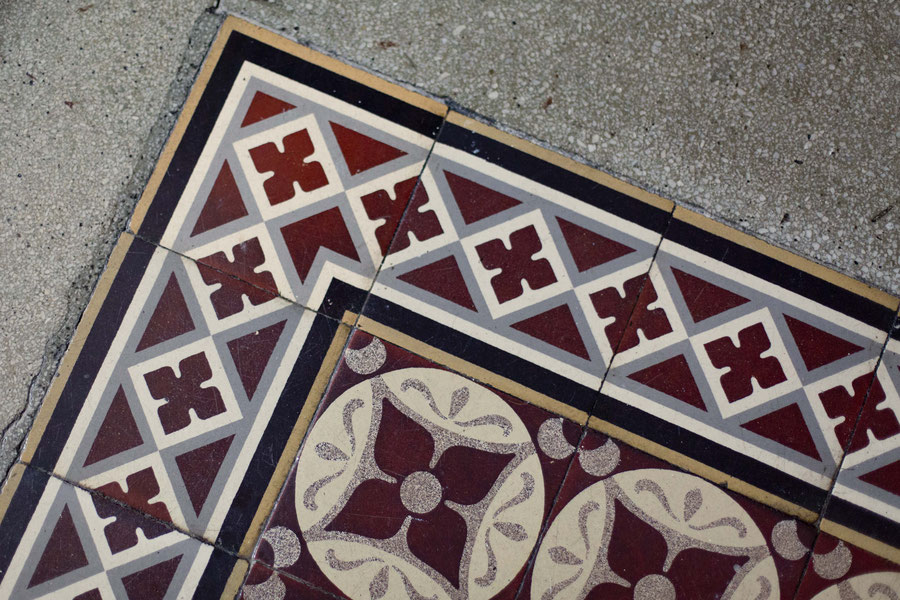 Turn-of-the-century-tiles in a corridor in Helsinki, Finland