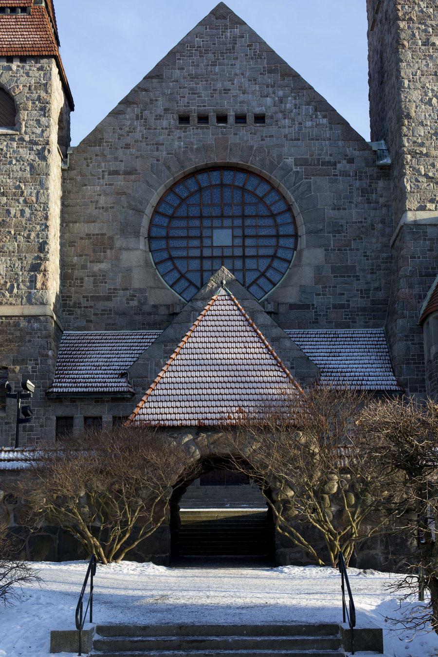 Der Dom von Tampere, Außenansicht und Westfassade, Tampere, Finnland
