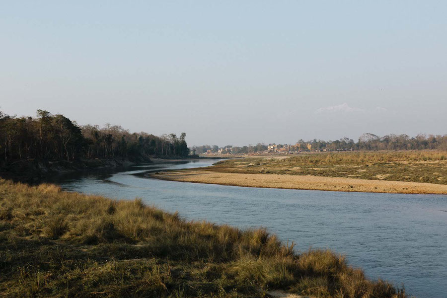 Sauraha seen from the other side of the river, Chitwan Netional Parc, Nepal